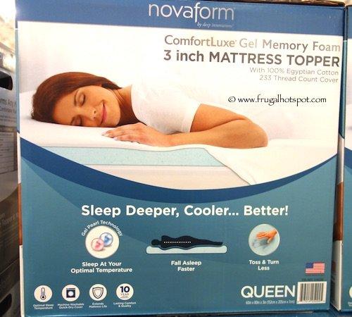Novaform Gel Memory Foam 3 Inch Mattress Topper Queen Simplythecase